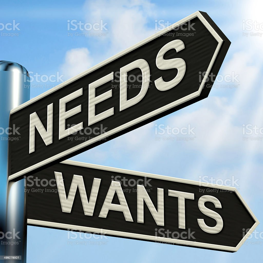 Needs Wants Signpost Means Necessity And Desire stock photo