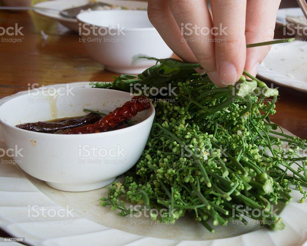 neem leaf food plate stock photo