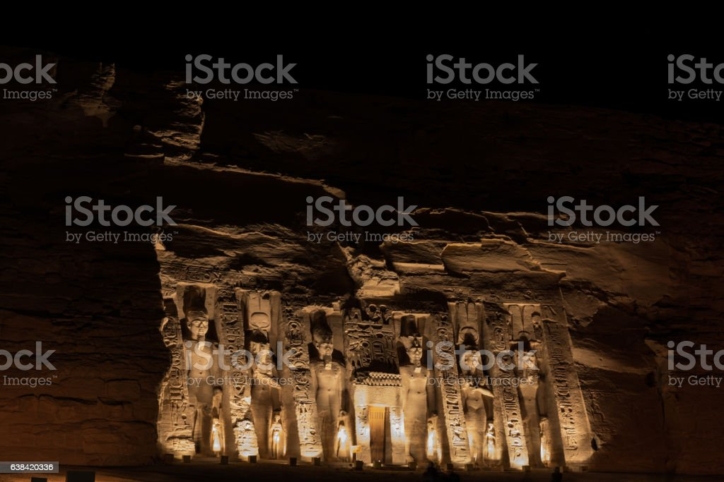 Nefertari Temple At Night stock photo