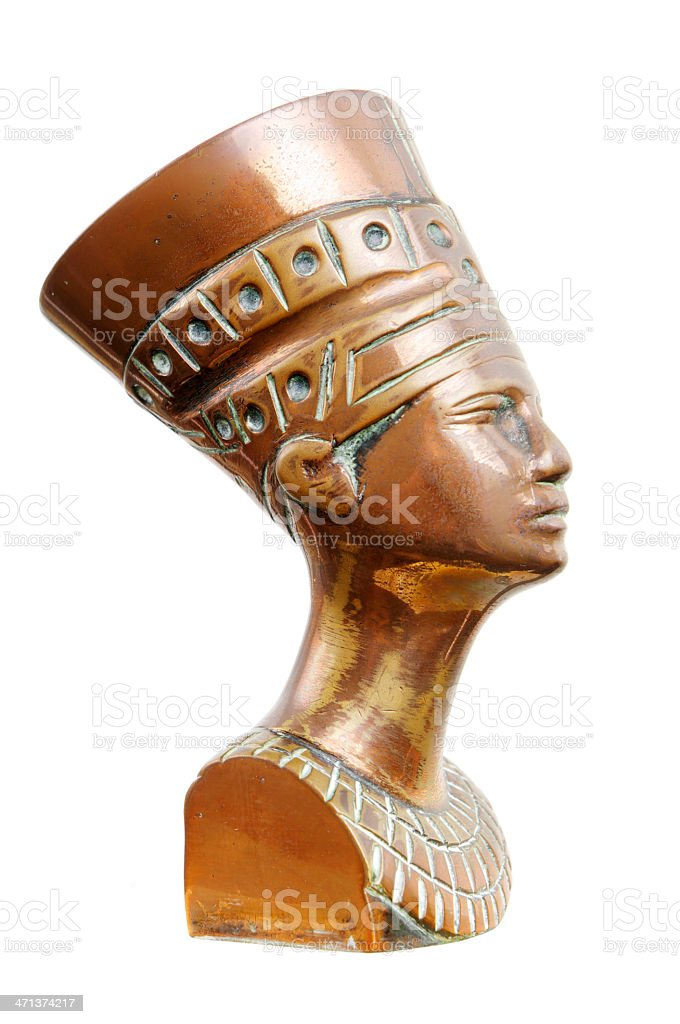 Nefertiti Head In Copper royalty-free stock photo