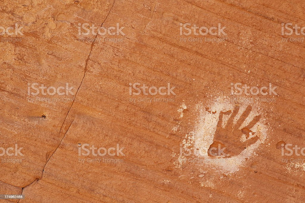 Negative Hand at Many Hands Ruins in Monument Valley stock photo