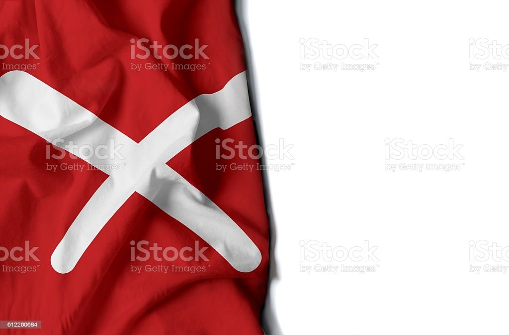 negative icon wrinkled flag, space for text stock photo