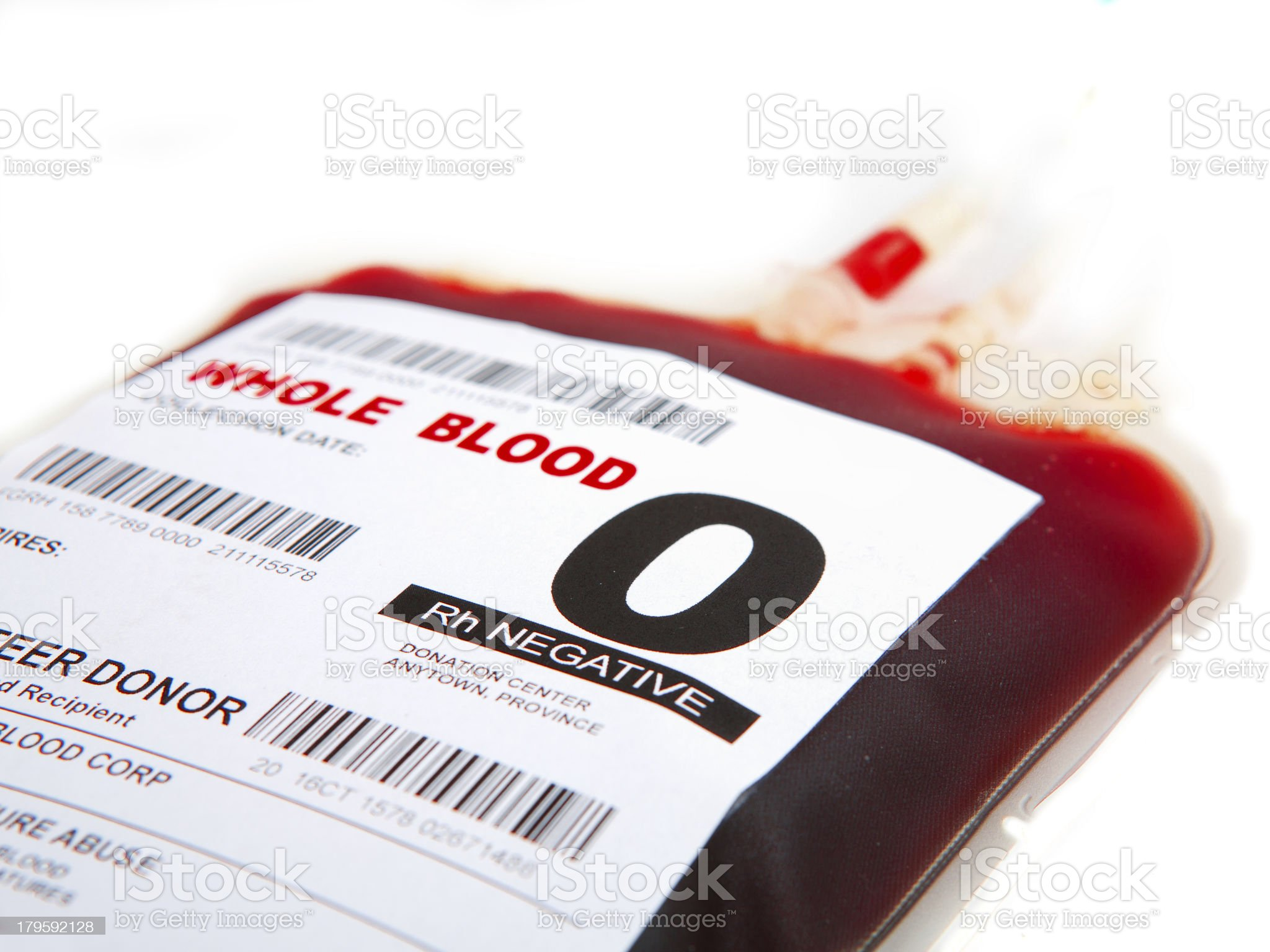 O Negative packed cell blood bag royalty-free stock photo