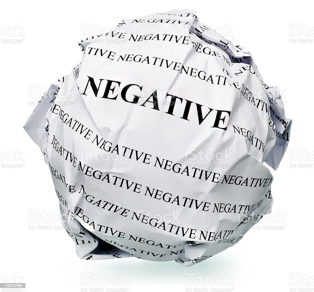Negative words on a ball of paper royalty-free stock photo