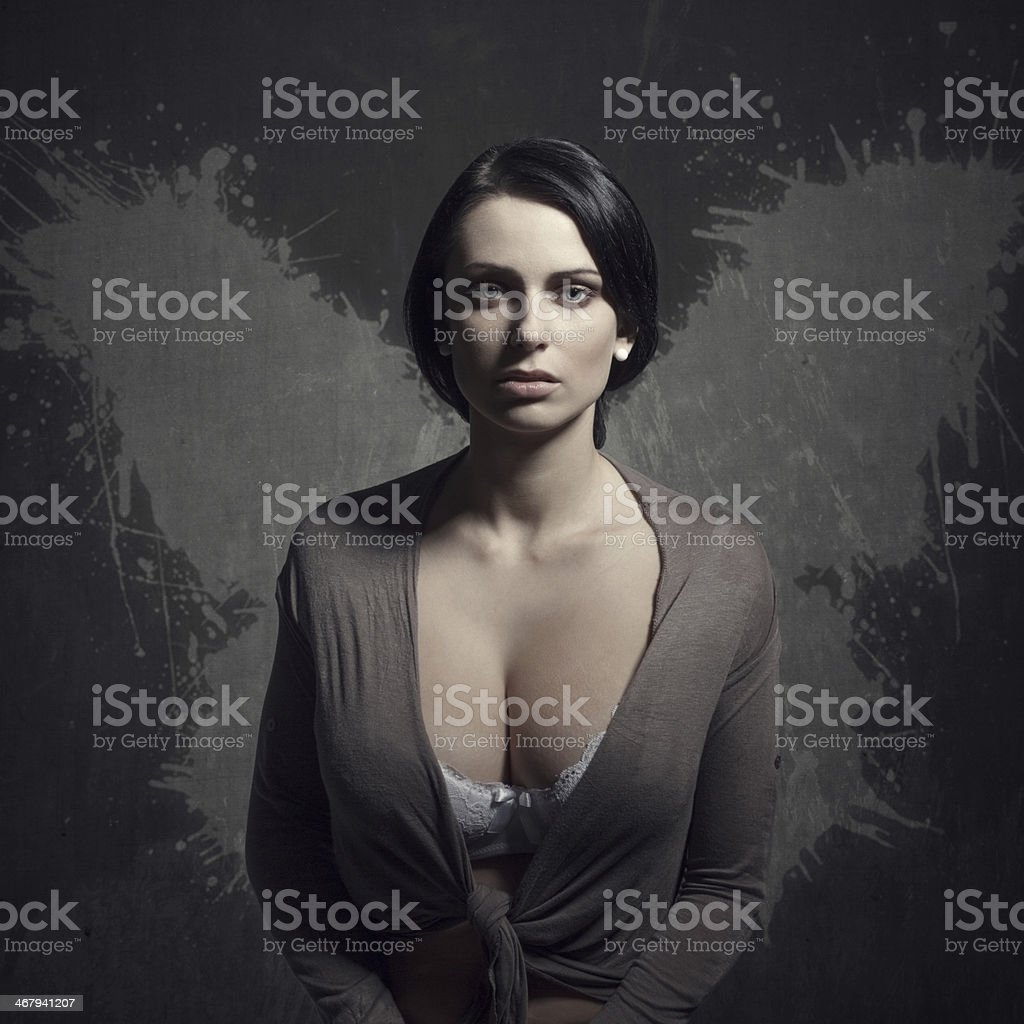 Neglected woman with wings royalty-free stock photo
