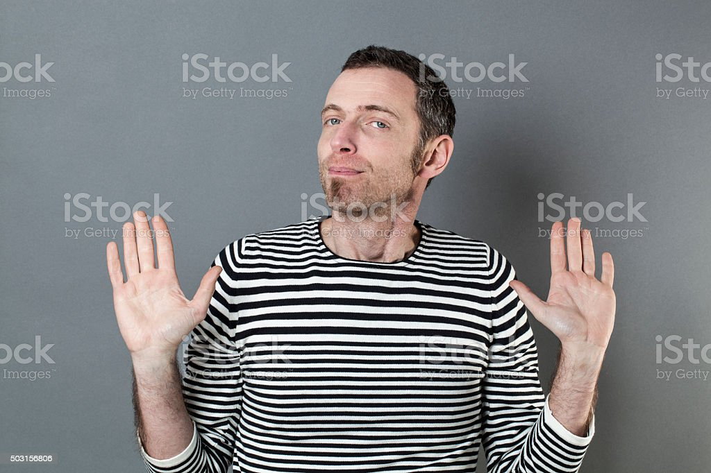 negligence concept for irresponsible 40s man stock photo