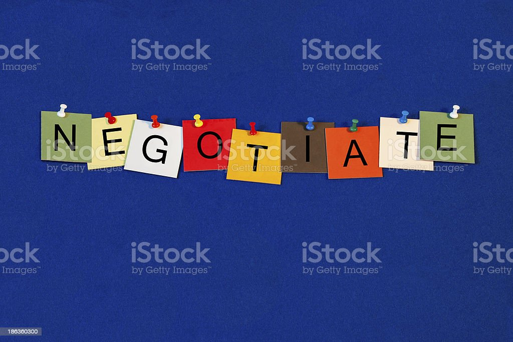 Negotiate - Business Sign royalty-free stock photo