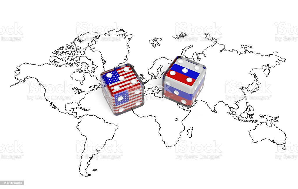 Negotiation between USA and Russia (political concept) stock photo