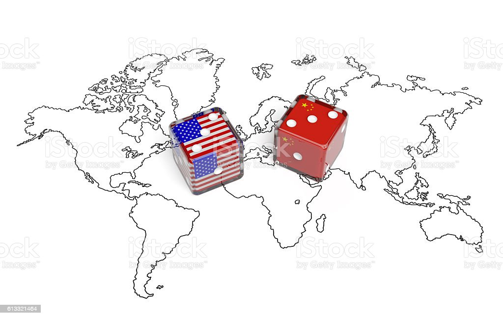 Negotiation dice USA and China (political concept) stock photo