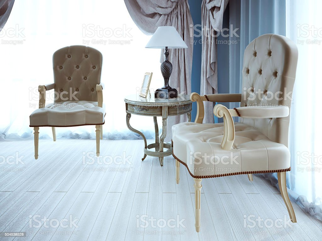 Negotiation place. Classic armchaira and coffe table stock photo