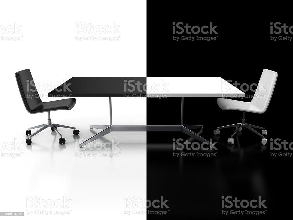 negotiations, confrontation 3d concept stock photo