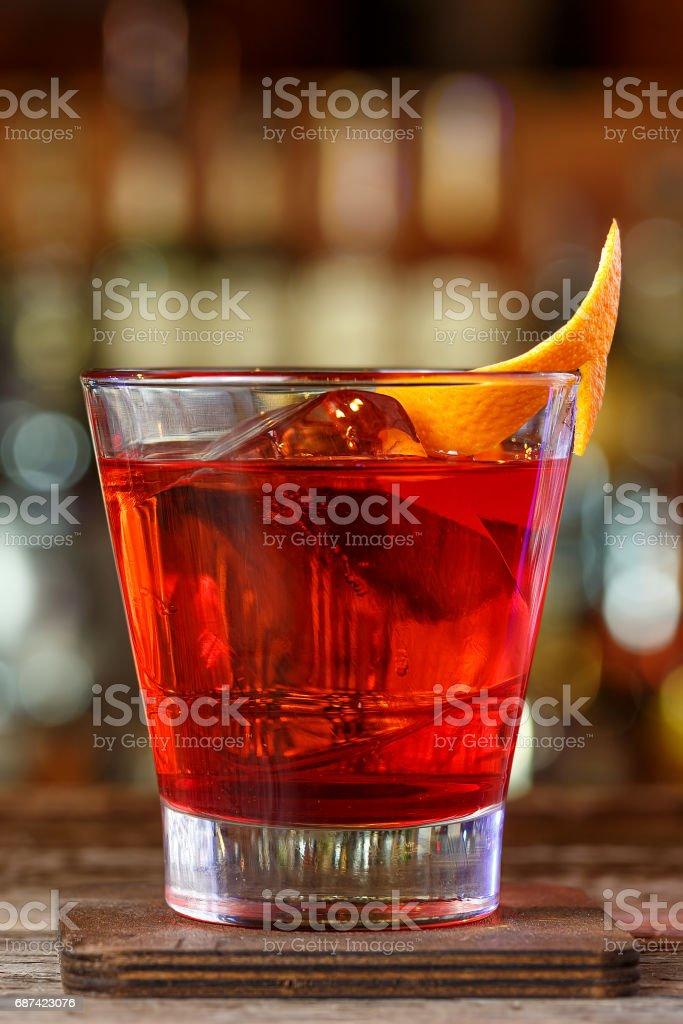 Negroni on the bar stock photo
