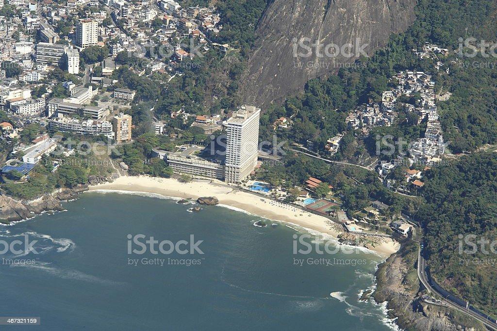 Neighborhood and Vidigal beach in Rio de Janeiro stock photo