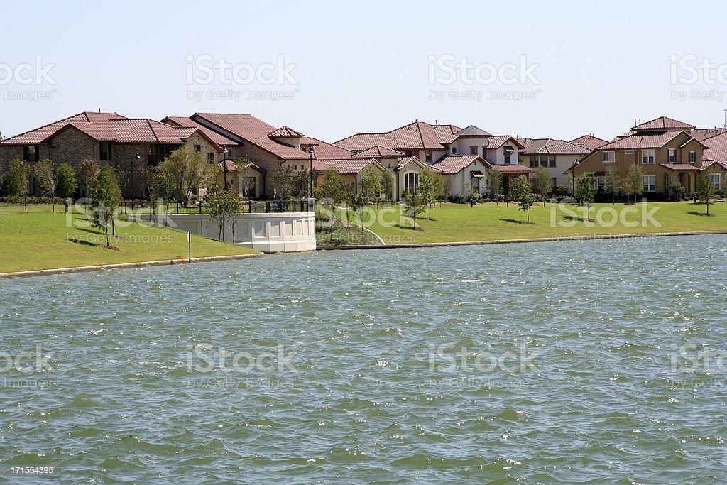 Neighborhood by a lake royalty-free stock photo