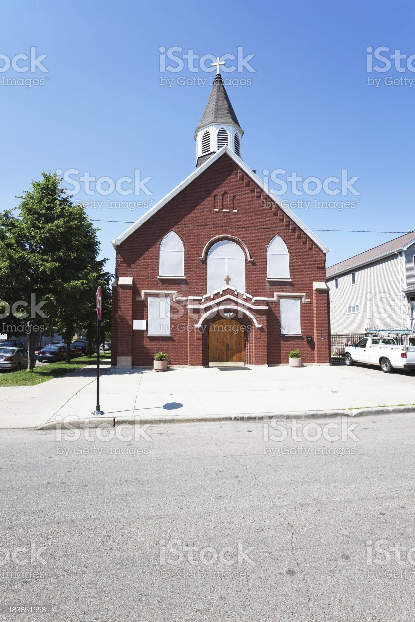 Neighborhood Catholic Church in North Center, Chicago royalty-free stock photo