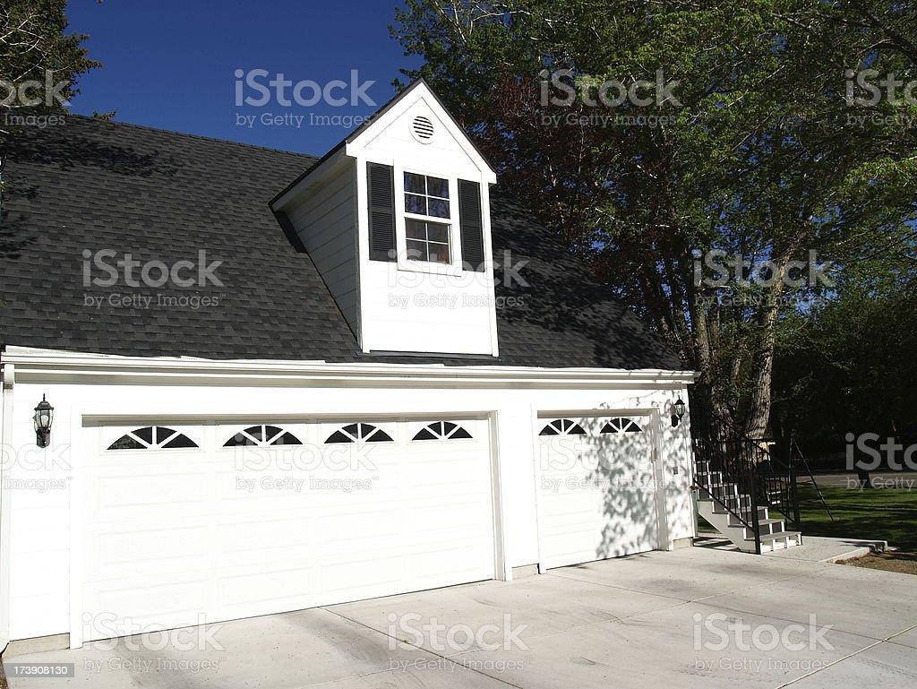 Neighborhood Home Garage stock photo