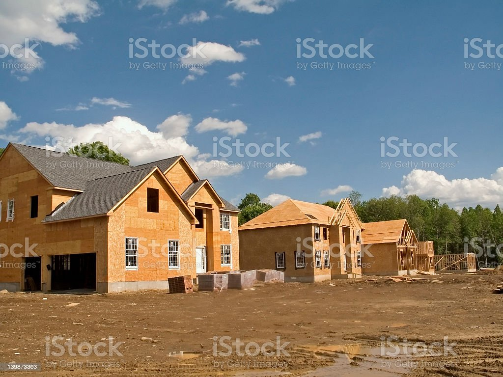 Neighborhood houses under construction stock photo