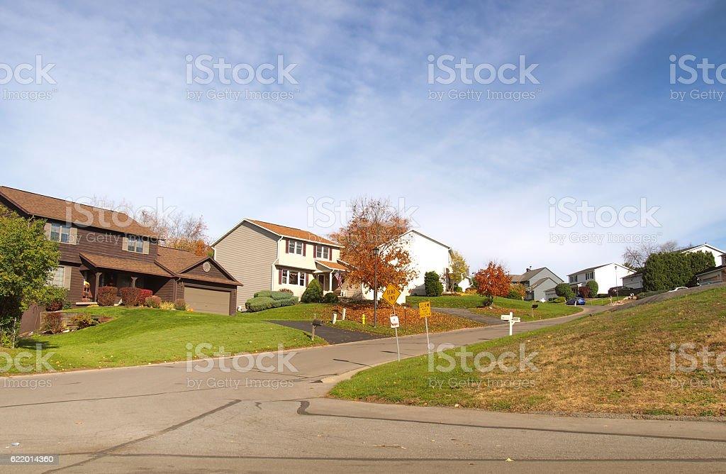 neighborhood in autumn stock photo