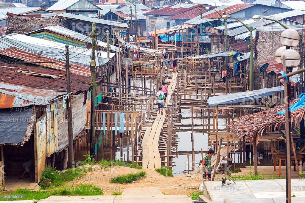 Neighborhood of Belen in Iquitos, Peru stock photo