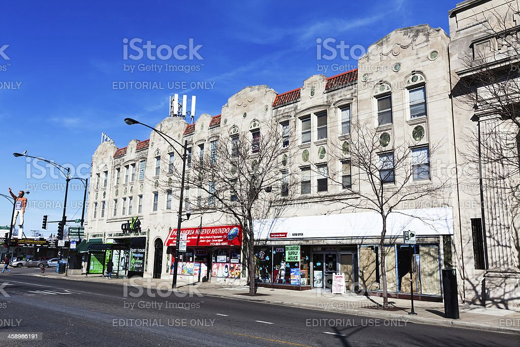 Neighborhood shopping street in West Lawn, Chicago royalty-free stock photo