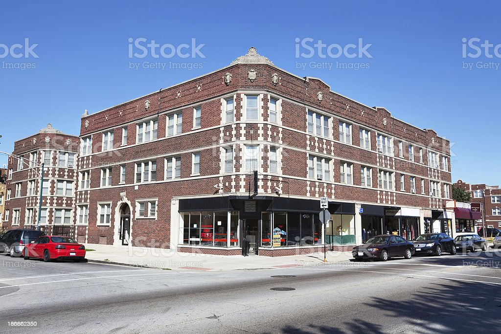 Neighborhood Shops and Launderette in Chatham, Chicago stock photo