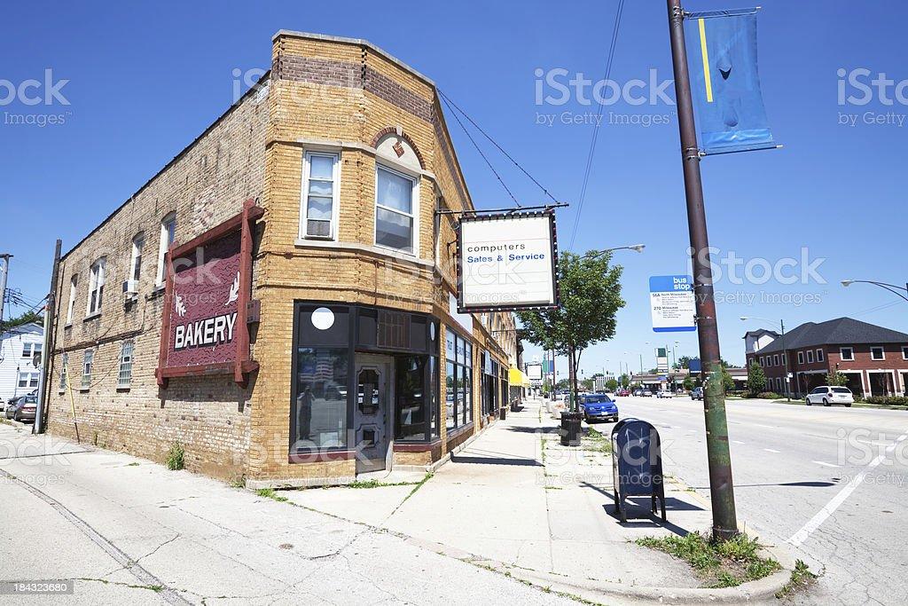 Neighborhood Shops in Gladstone Park, Chicago stock photo