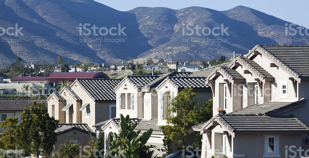 Neighborhood Stucco Home Exteriors royalty-free stock photo