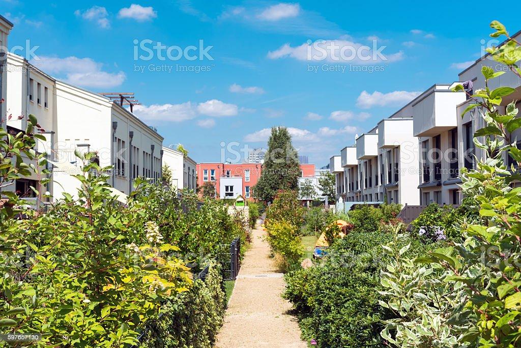 Neighborhood with gardens in Berlin stock photo