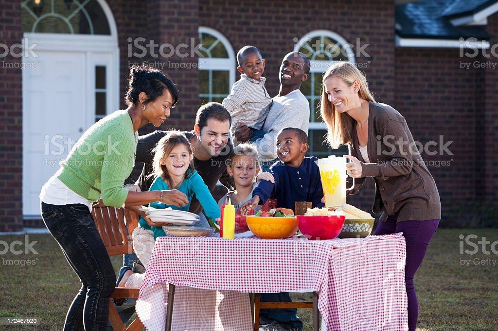 Neighbors having picnic royalty-free stock photo
