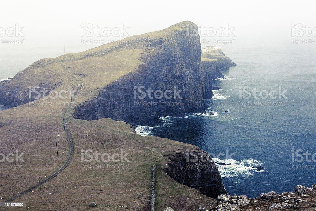 Neist Point and Snowfall, Isle of Skye, Scotland royalty-free stock photo
