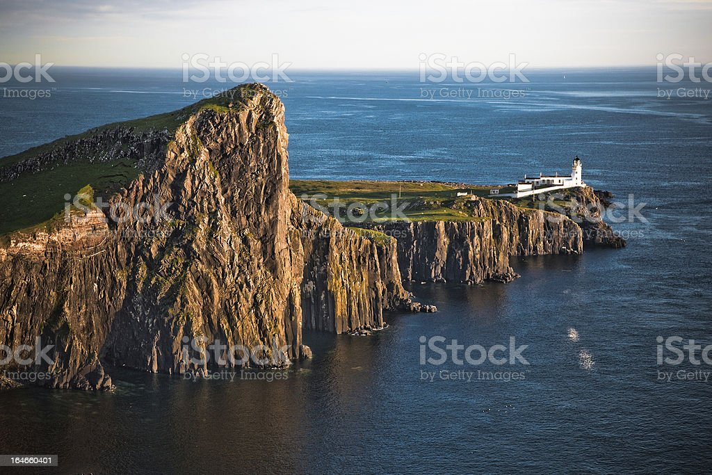 Neist Point Lighthouse at sunset stock photo