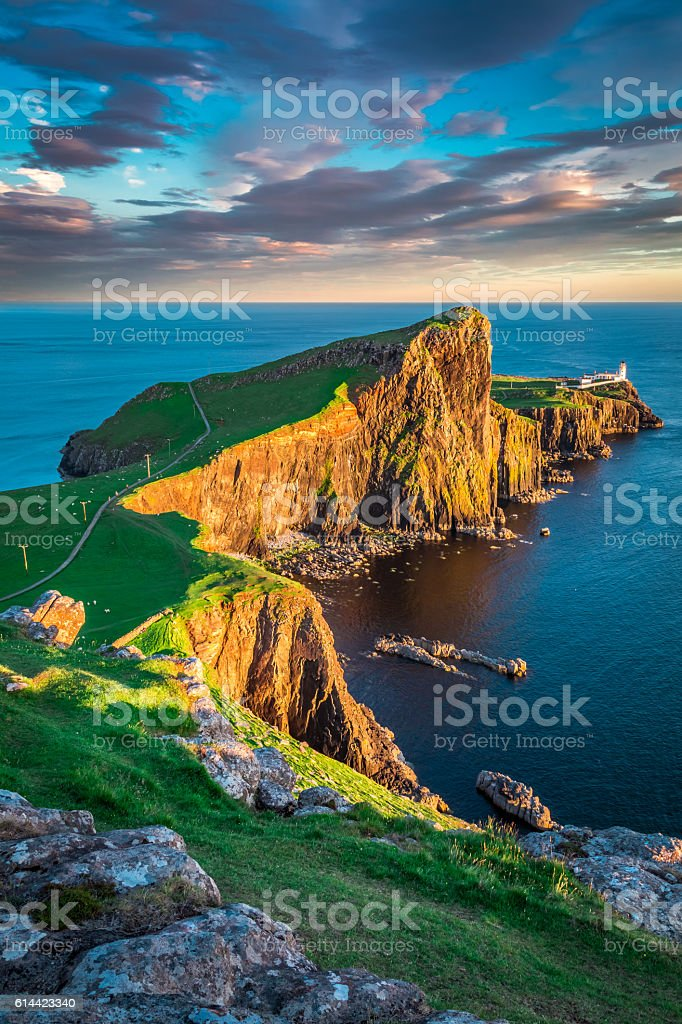 Neist point lighthouse in Isle of Skye, Scotland stock photo