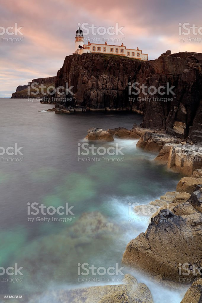 Neist point Lighthouse in Scotland stock photo