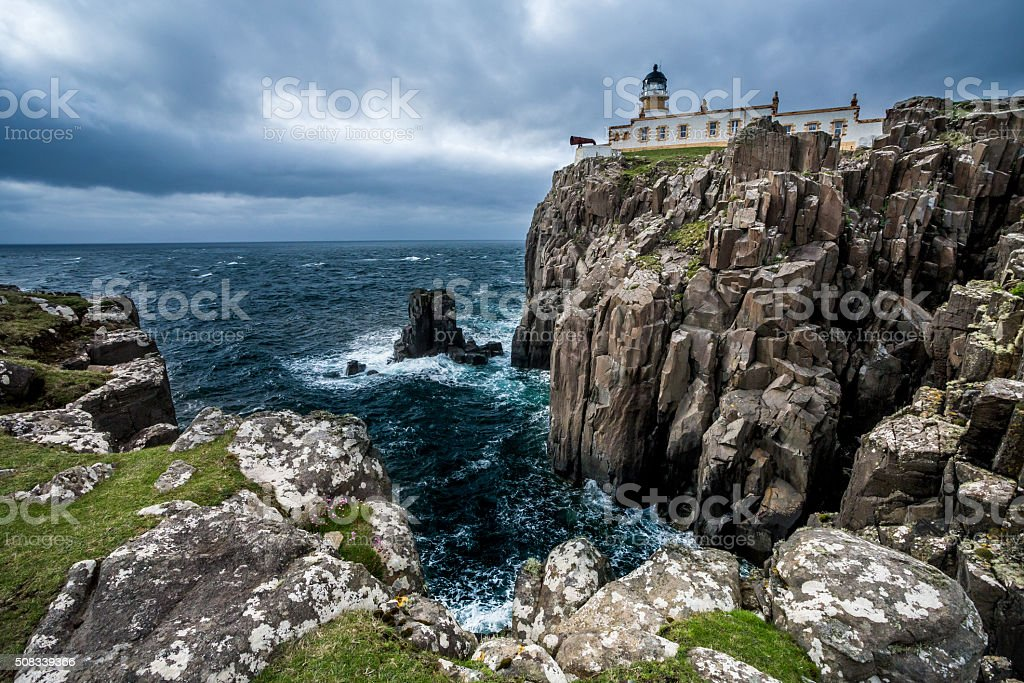 Neist Point Lighthouse, Isle of Skye stock photo