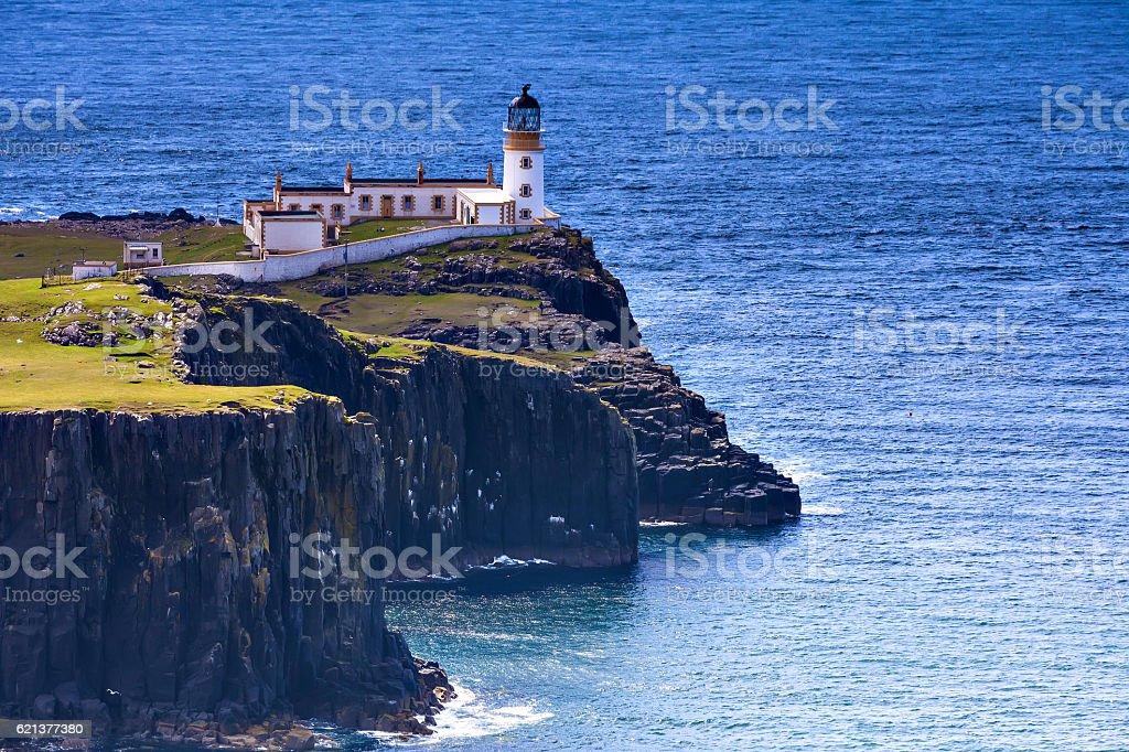 Neist Point lighthouse on the Isle of Skye stock photo