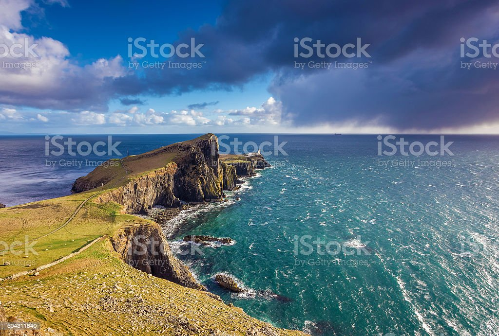 Neist Point Lighthouse on the Isle of Skye - Scotland stock photo