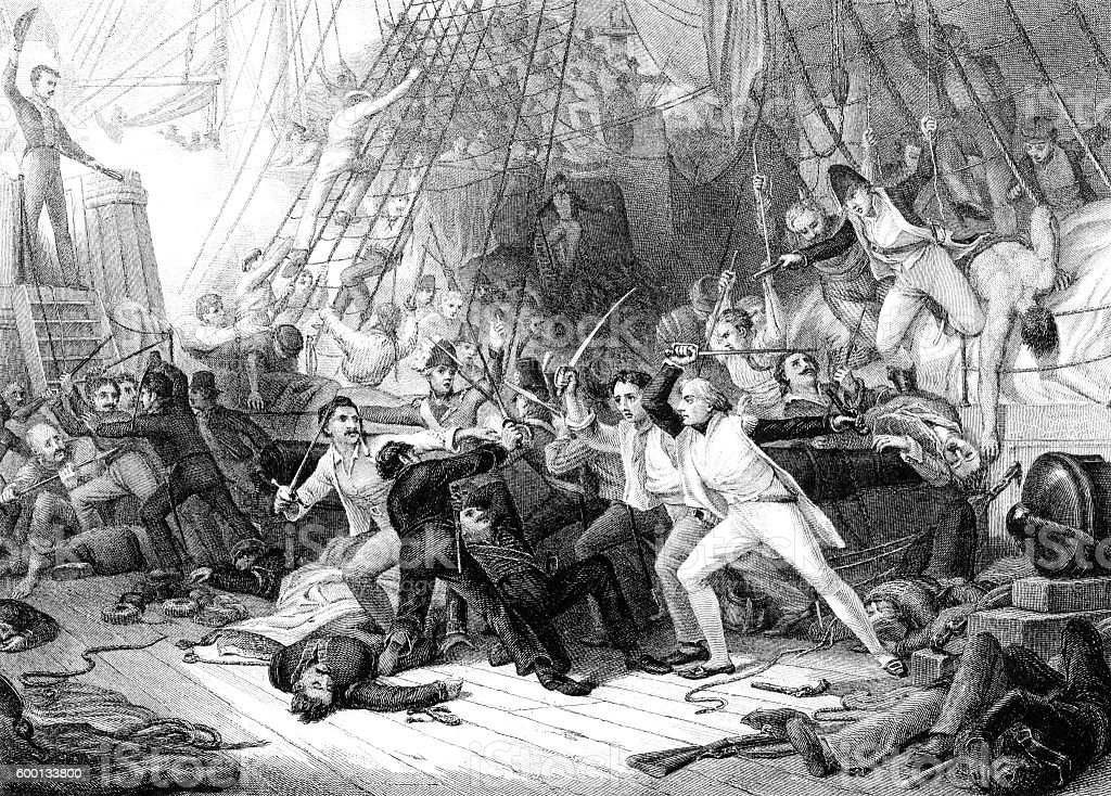 Nelson boarding the San Josef at the Battle of St Vincent stock photo