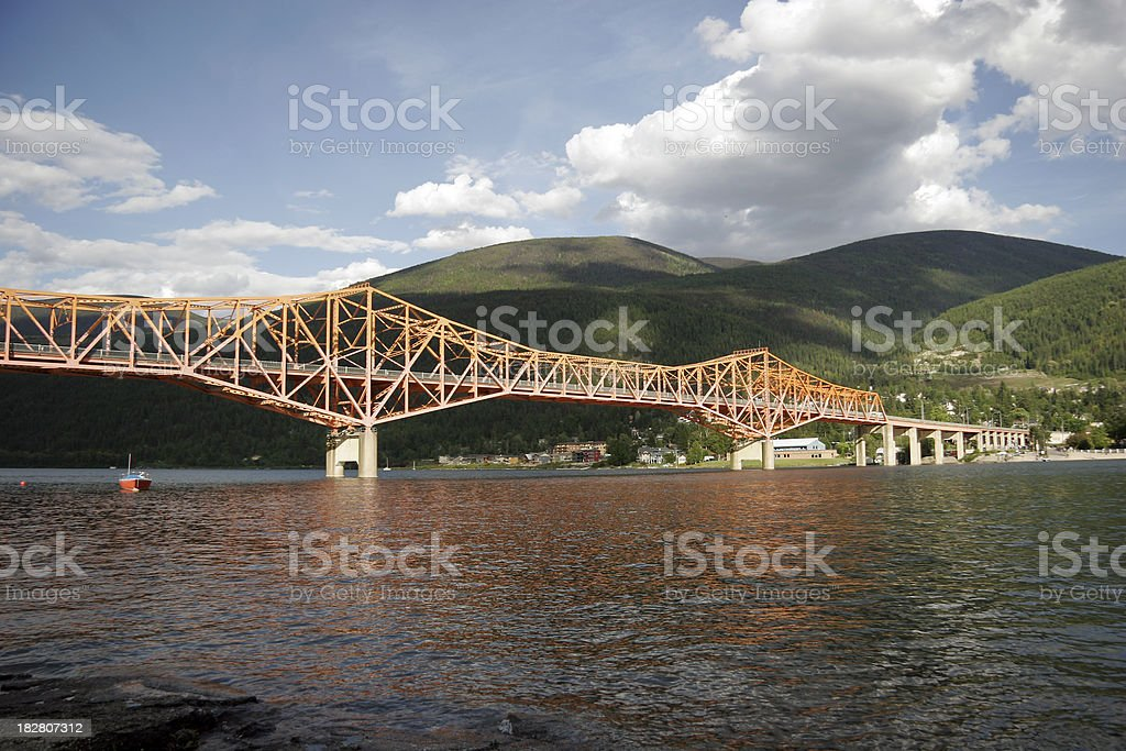 Nelson Bridge With Orange Reflections stock photo