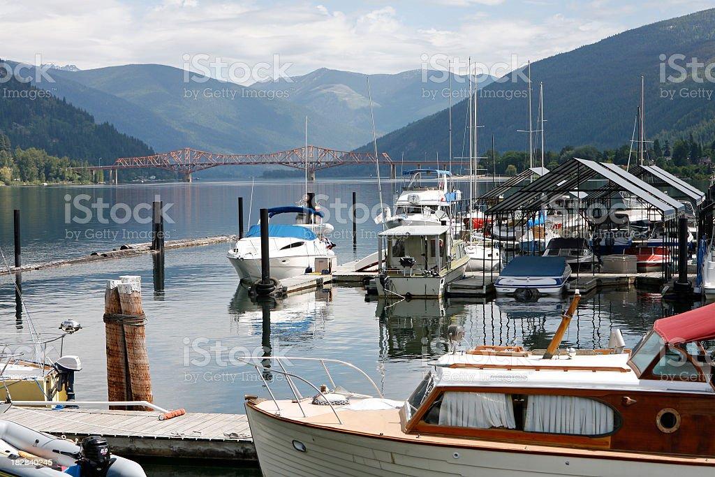 Nelson British Columbia  With The Landmark Orange Bridge stock photo