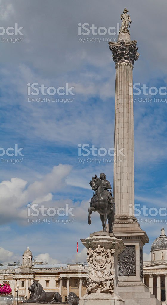 Nelson column in London, England stock photo