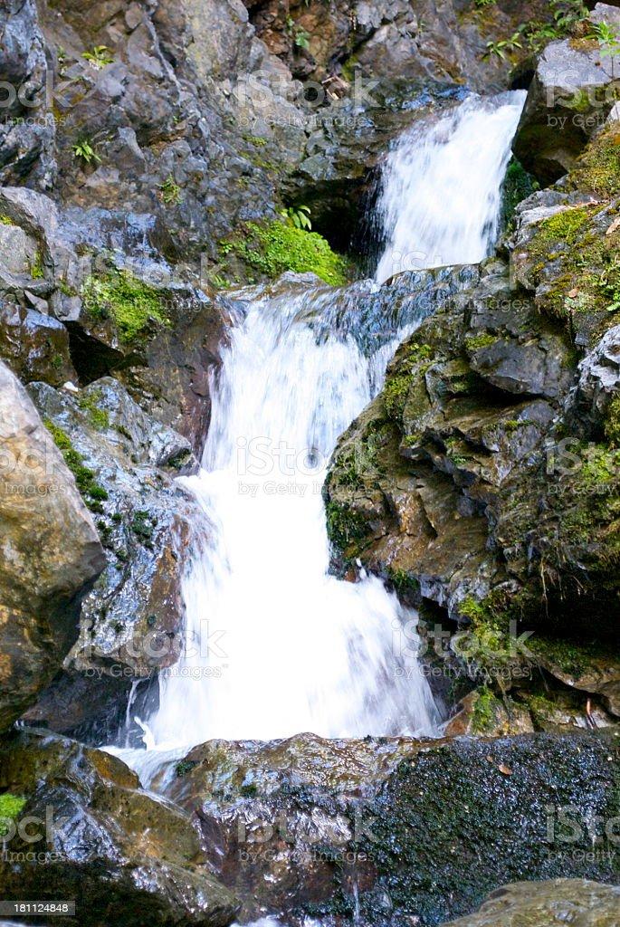 Nelson Lakes Waterfall, Tasman Region, New Zealand royalty-free stock photo