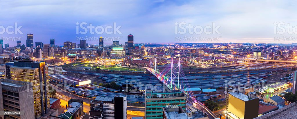 Nelson Mandela Bridge evening panoramic in South Africa stock photo