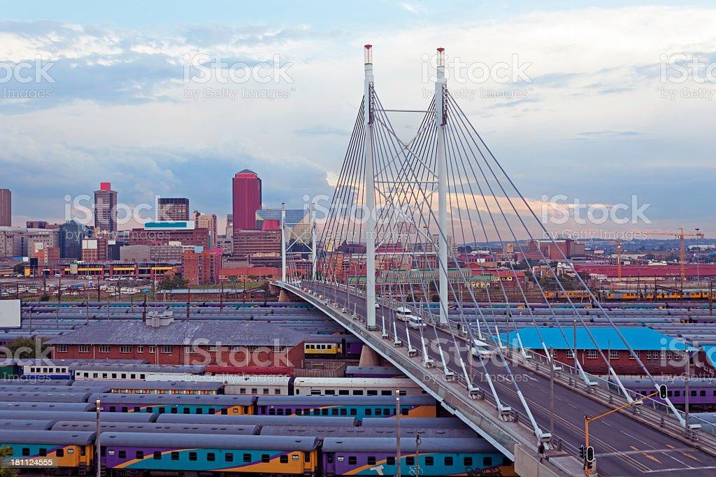 Nelson Mandela Bridge in Johannesburg stock photo