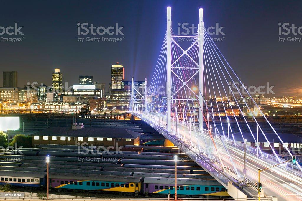 Nelson Mandela Bridge lit up at night stock photo