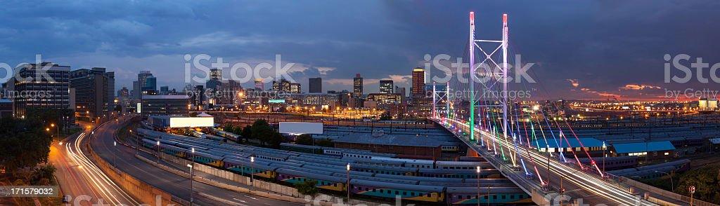 Nelson Mandela Bridge panoramic cityscape stock photo