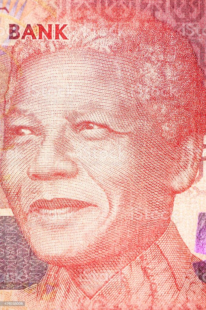 Nelson Mandela, Portrait on the bill stock photo