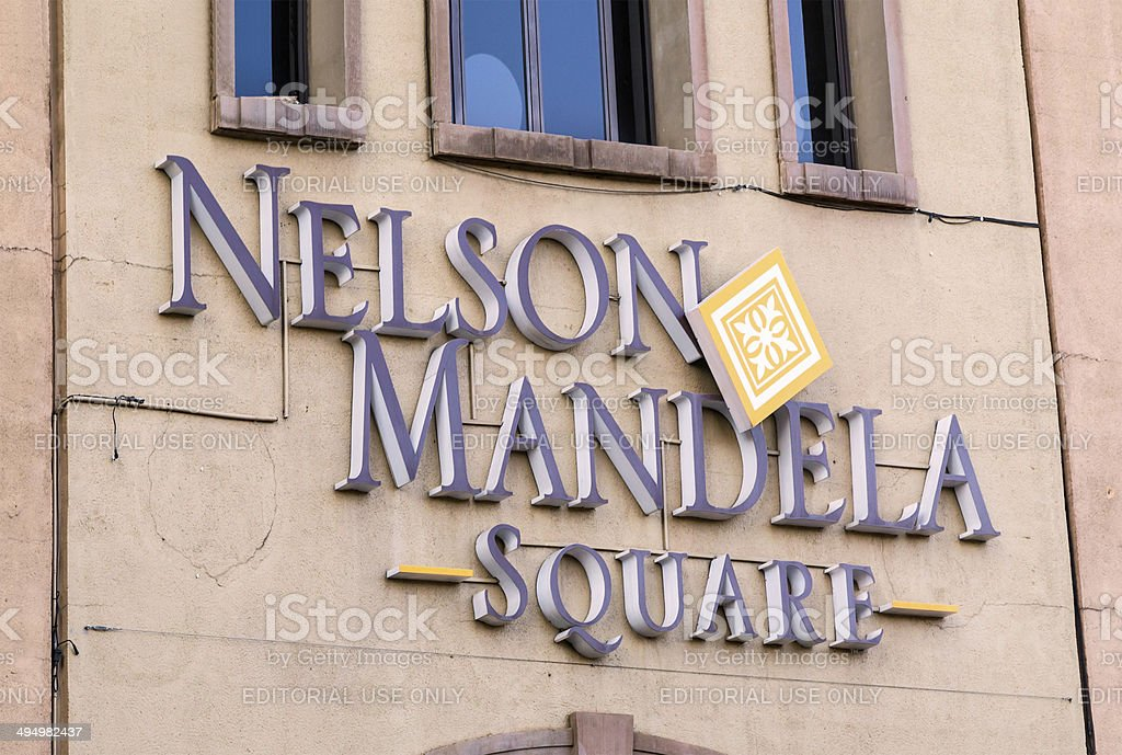 Nelson Mandela Square, signage stock photo