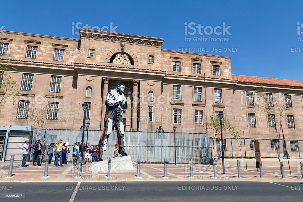 Nelson Mandela statue as a Boxer stock photo