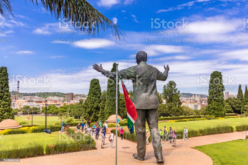 Nelson Mandela statue at the Union Buildings stock photo