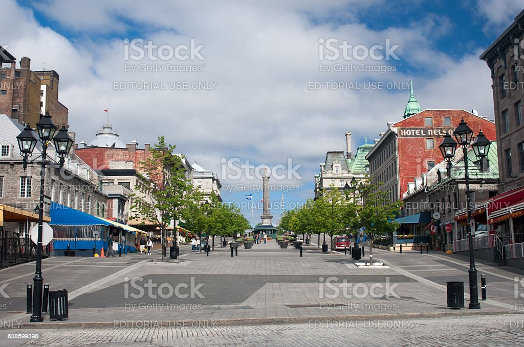 Nelson's Column in Place Jacques Cartier, Montreal stock photo